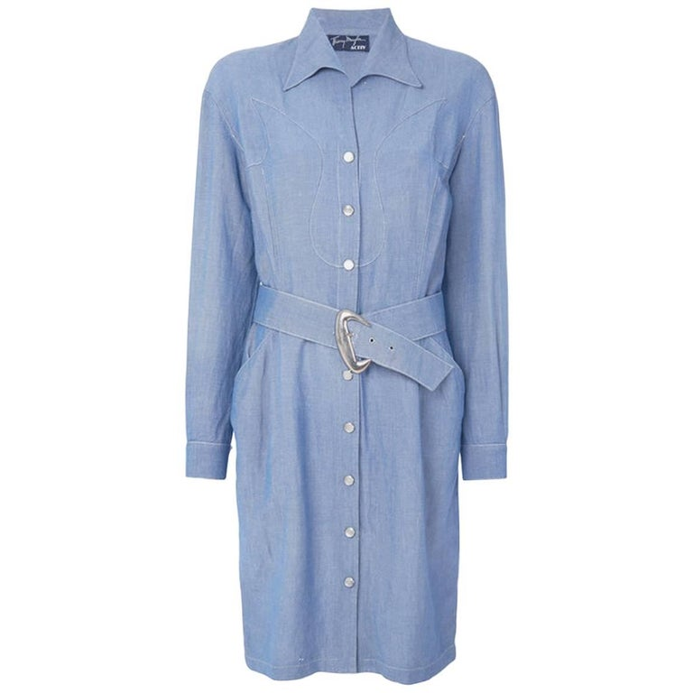 Blue Chambray Linen Thierry Mugler Dress