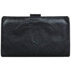 Chanel Vintage Black Caviar Leather Timeless CC Wallet
