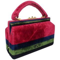 C.1960 Roberta Di Camerino Velvet Carpetbag Handbag