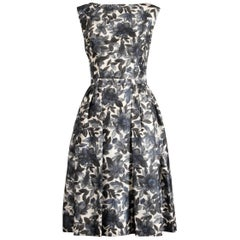 1950s Vintage Watercolor Floral Print Silk Cocktail or Tea Dress with Belt