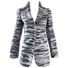 1990s Moschino Cheap & Chic Gray + Black Zebra Print Size 6 Vintage 90s Blazer