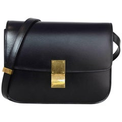 Celine Black Calfskin Medium Box Bag w. Box & Dust Bag