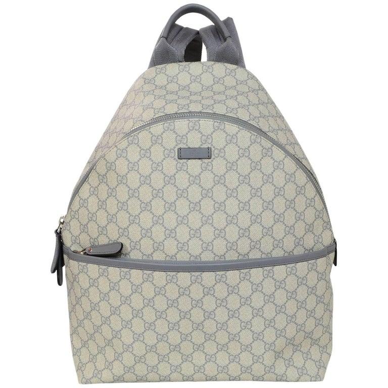 Gucci Grey Monogram GG Supreme Backpack Bag