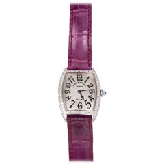Franck Muller Watch Ladies 18k Cintree Curvex Diamond Crocodile Strap Box Papers