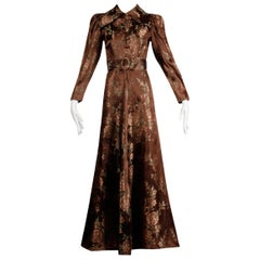 1940s Vintage Copper Brown Floral Jacquard House Dress or Robe Duster Coat/ Belt