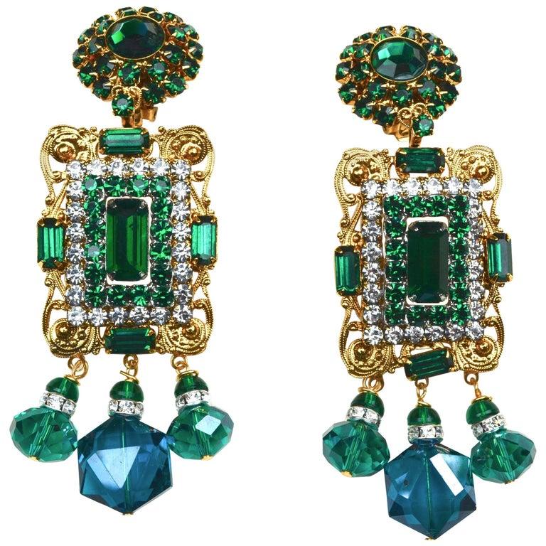 Larry Vrba Emerald Earrings For Sale