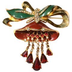 1930s Adolph Katz Coro Lotus Flower Brooch