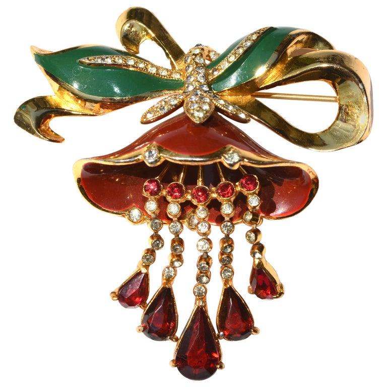 1930s Adolph Katz Coro Lotus Flower Brooch For Sale