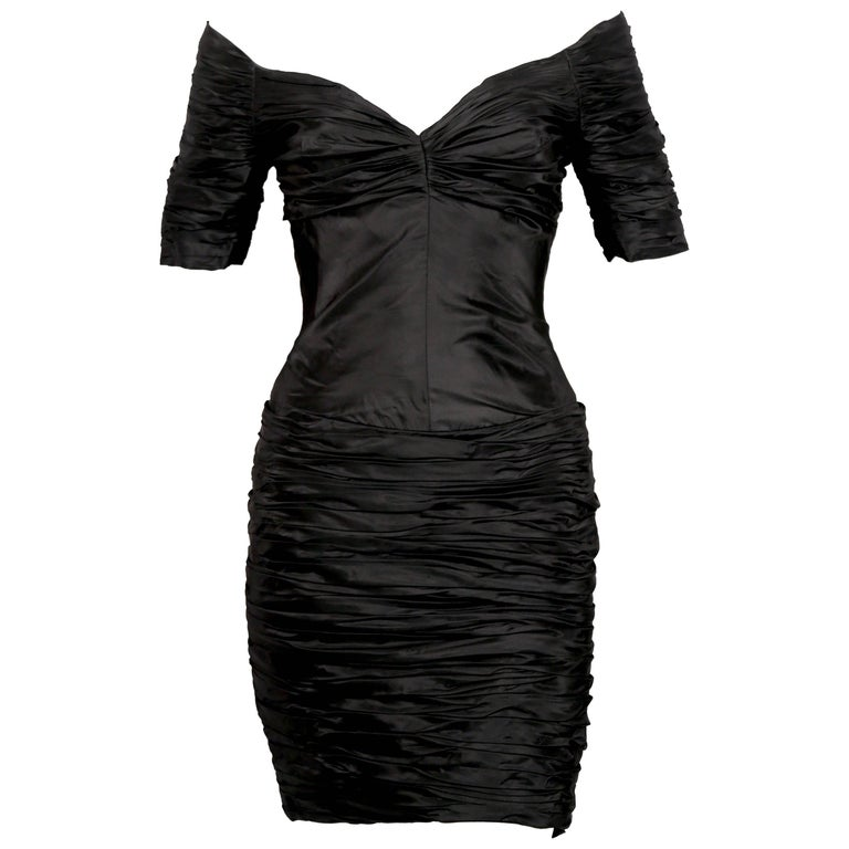 1980's LORIS AZZARO black ruched off the shoulder dress