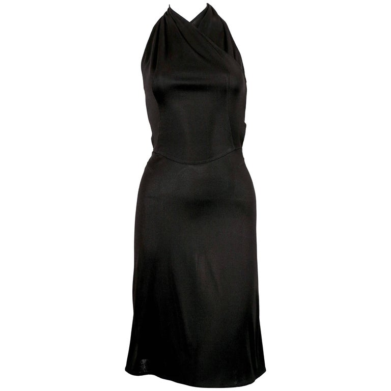 Azzedine Alaia black halter dress with open back, 1990s  For Sale