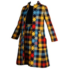 Oscar de la Renta Plaid Wool Mod Coat and Dress Ensemble, 1960s