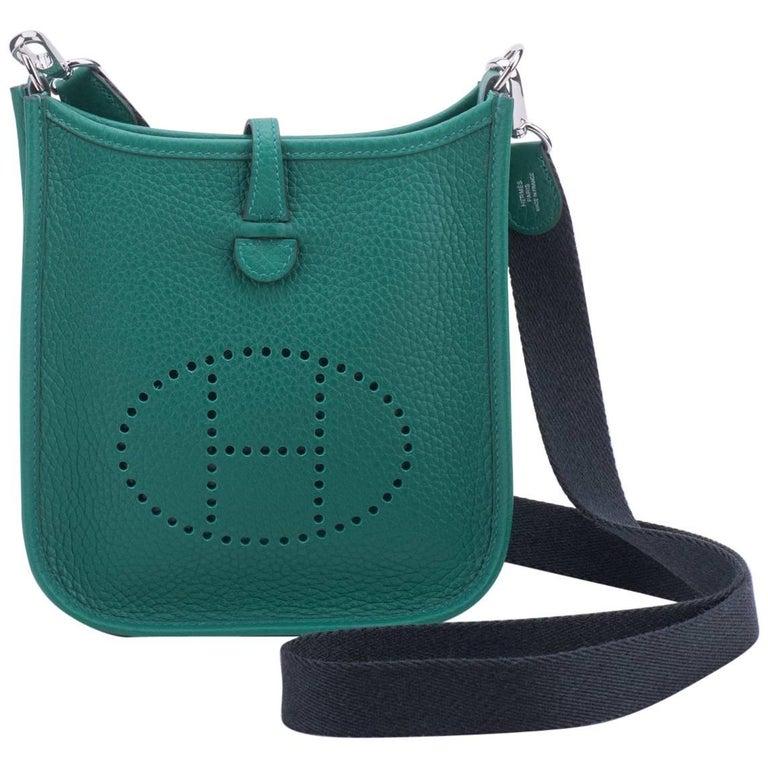 New Hermès Vert Vertigo Mini Evelyne Bag