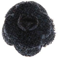 Chanel Blue Tweed Camellia Brooch