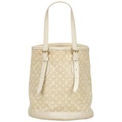 Louis Vuitton White Monogram Mini Lin Bucket PM