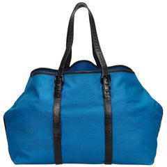 Bottega Veneta Blue x Black Canvas Weekender