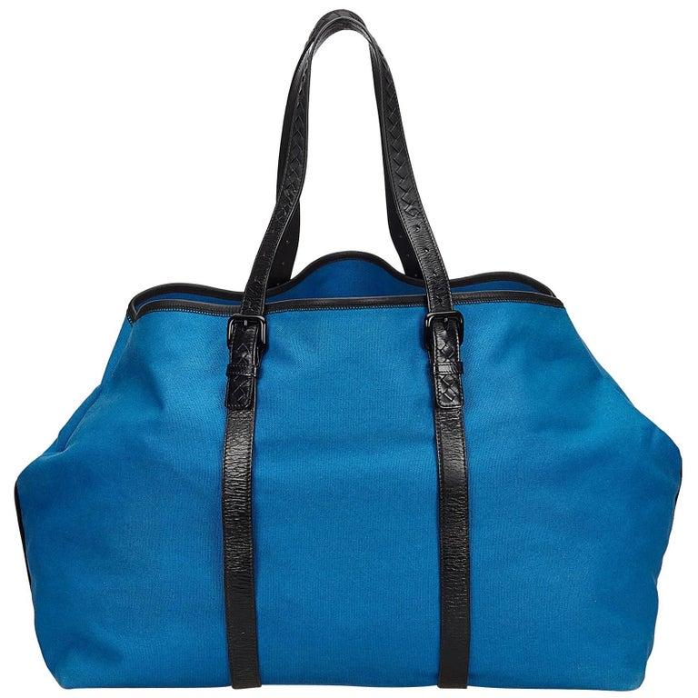 Bottega Veneta Blue x Black Canvas Weekender For Sale