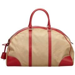 Prada Beige x Red Canvas Leather Trimmed Weekender