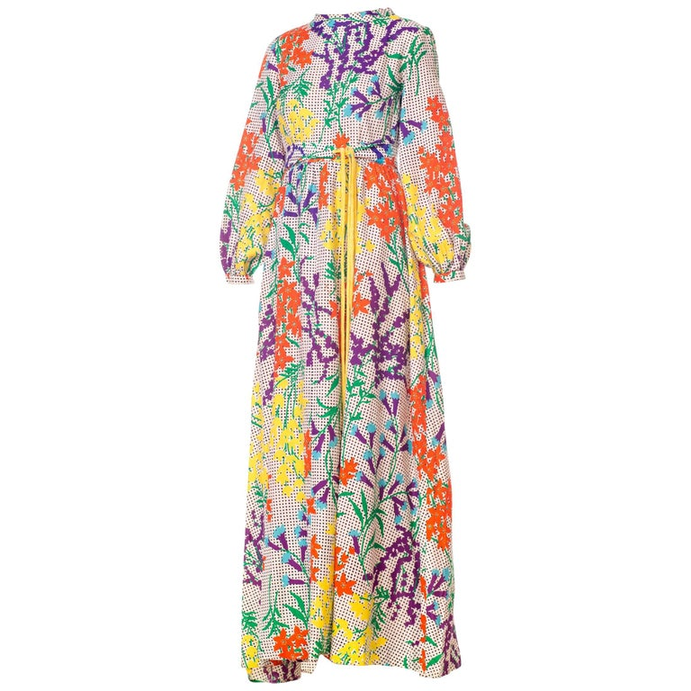 b22ad816390 1970s Bergdorf Goodman Gucci Style MOD Floral Print Boho Maxi Dress For Sale