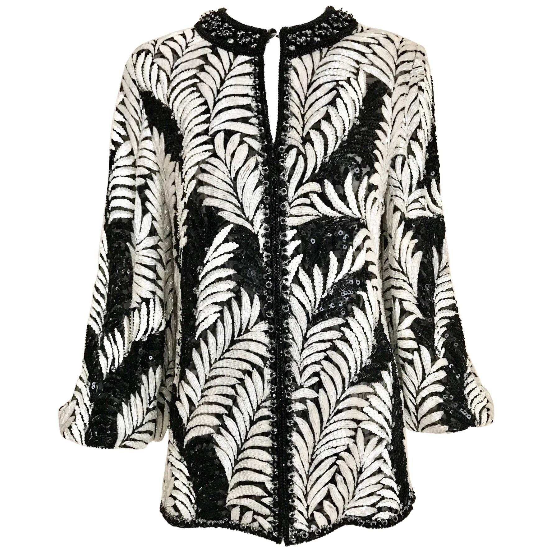 Galanos Black and White Leaf Motif Beaded Jacket, 1980s