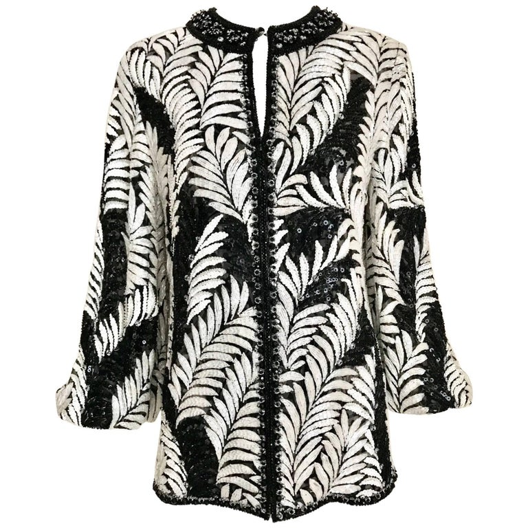 Galanos Black and White Leaf Motif Beaded Jacket, 1980s   For Sale
