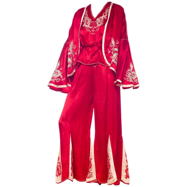 1920s Asian Red Silk Dragon Embroidered Beach Pajamas Set Top, Pants And Jacket