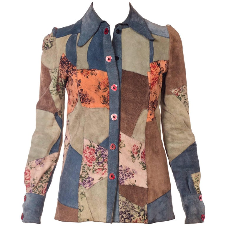 1970s Roberto Cavalli Floral Suede Patchwork Jacket