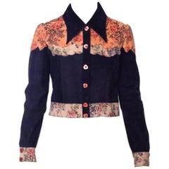 1970s Roberto Cavali Floral Printed Navy Suede Shirt Jacket