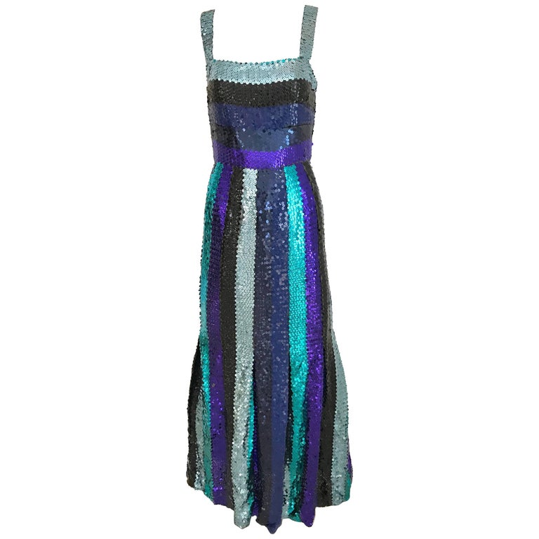 Givenchy Spaghetti Strap Blue Sequins Cocktail Dress, 1960s