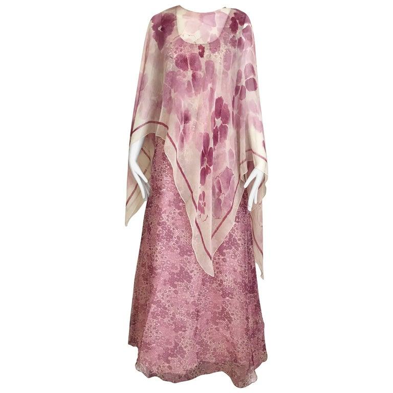 Oscar De La Renta Pink Floral Print  Dress, 1970s