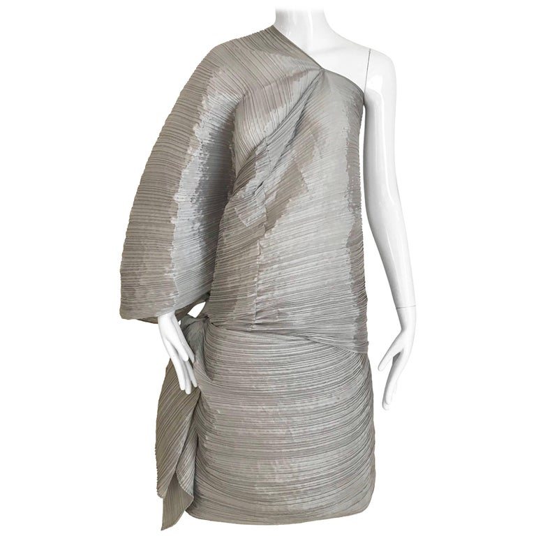 Issey Miyake Pleats Please Silver Grey Caftan Dress