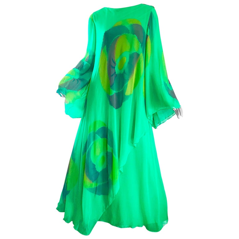 Vintage Travillia Couture 1970s Hand Painted Kelly Green Silk Chiffon 70s Gown For Sale