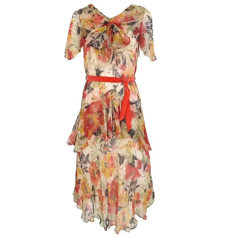 1920s Floral Print Silk Chiffon Summer Day Dress
