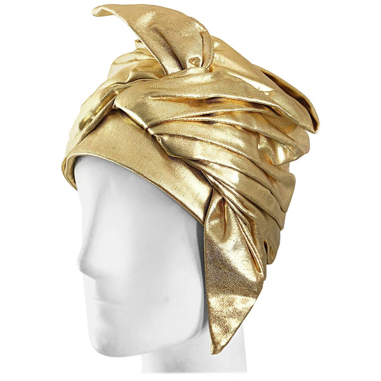 1950s Christian Dior Gold Lame Avant Garde Rare Vintage 50s Turban Hat  For Sale