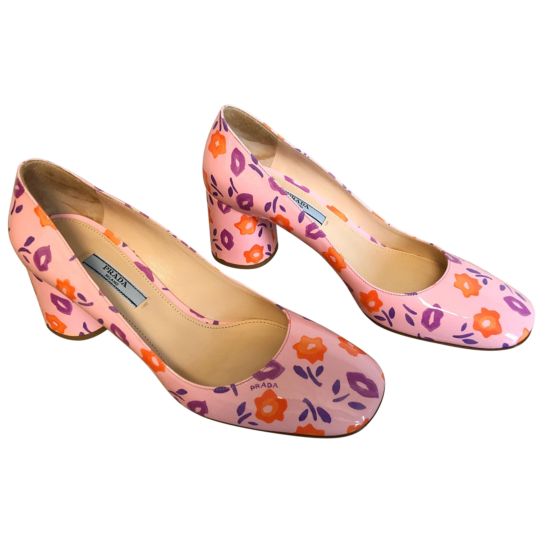 Sold Out Prada Size 37 / 7 Patent Leather Pink + Purple + Orange Lip Print Pumps