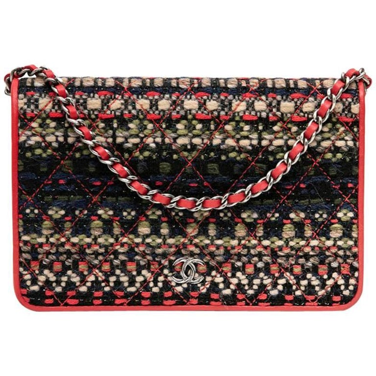 Chanel Multicolored Tweed and Red Smooth Leather Paris-Salzburg Mini Bag