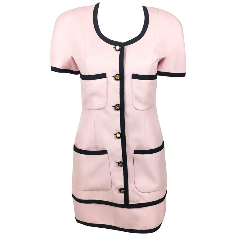 Chanel Pink Short Dress With Logo Buttons, 1991