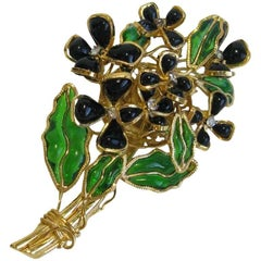 MARGUERITE DE VALOIS Bouquet of Flowers Brooch in Gilt Metal and Molten Glass