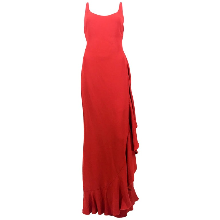 VALENTINO Red Chiffon ONE SHOULDER EVENING Gown DRESS Gown For Sale ...