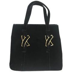 MINT. Vintage Paloma Picasso black velvet tote bag with golden logo motifs.