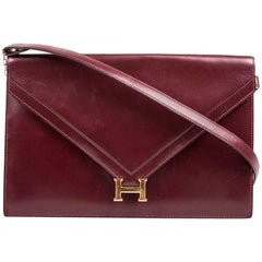 "Hermès Vintage Red H Smooth Box Calfskin Leather ""Lydie"" Pouch Bag"