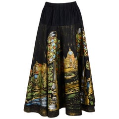 Vintage 1950s Lavable Mexican handpainted Victoria Vancouver scenery print skirt