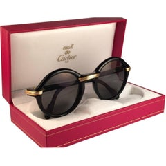 Cartier Cabriolet Round Black and Gold 52MM Gold Sunglasses, France 1990s