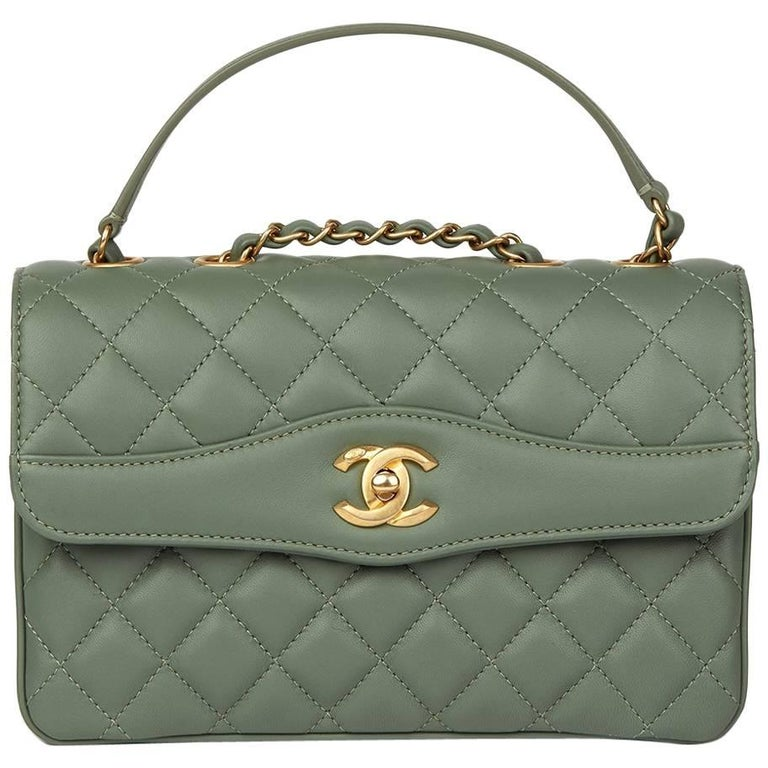 7d94f492c6df34 Chanel Green Quilted Lambskin Coco Vintage Flap Bag, 2017 For Sale.