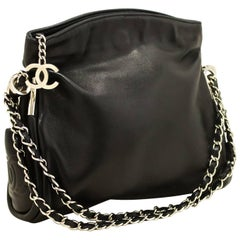 CHANEL Chain Shoulder Bag Black Lambskin Leather Silver Hw Purse