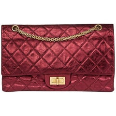 2009 Chanel Red  Metallic Aged Calfskin Leather 2.55 Reissue 227 Double Flap Bag