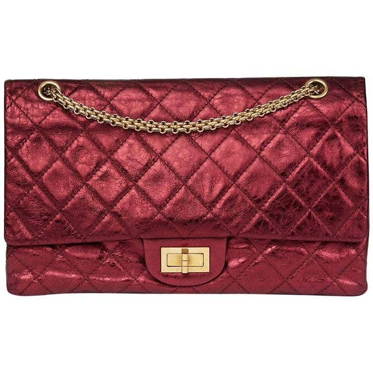 0bb16a56577b77 2009 Chanel Red Metallic Aged Calfskin Leather 2.55 Reissue 227 Double Flap  Bag For Sale