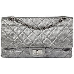 Chanel Silver Metallic Aged Calfskin 2.55 Reissue 227 Double Flap Bag, 2009