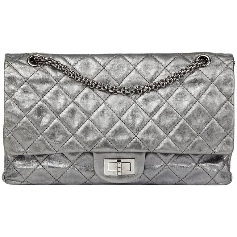 8f41648e430eb2 Chanel Silver Metallic Aged Calfskin 2.55 Reissue 227 Double Flap Bag, 2009  For Sale.