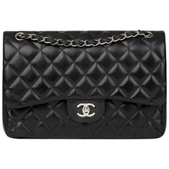 Chanel Black Quilted Lambskin Jumbo Classic Double Flap Bag, 2012
