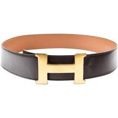 HERMES Vintage Belt in Brown Box Leather Size 75FR